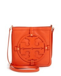 Orange Leather Crossbody Bag