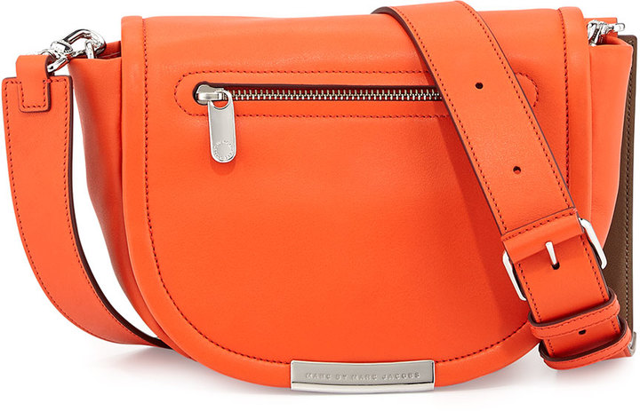 d9cc8466ce97 ... Marc by Marc Jacobs Luna Leather Saddle Crossbody Bag Orange Glow ...