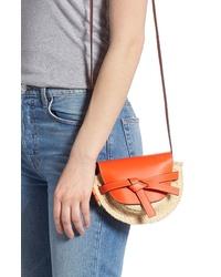 Loewe Mini Gate Leather Raffia Crossbody Bag