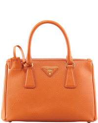 Prada Saffiano Double Zip Mini Crossbody Papaya