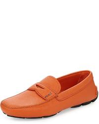Prada Saffiano Penny Driver Shoe Orange