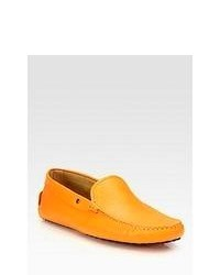 Tod's Pebbled Leather Driver Orange Shoes