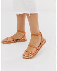 ASOS DESIGN Juliette Premium Leather Studded Espadrilles In Orange