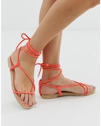 SIMMI Shoes Simmi London Hira Coral Toe Loop Espadrille Sandals