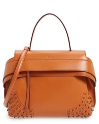 Small wave leather satchel brown medium 712778