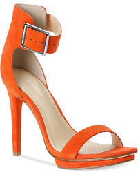 Orange Leather Heeled Sandals