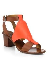 Ralph Lauren Collection Paola Block Heel Leather Sandals