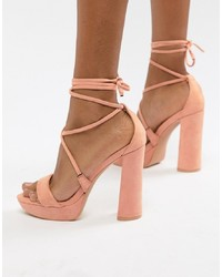 Public Desire Freesia Peach Platform Heeled Sandals
