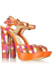 Loriblu Multicolor Woven Leather Platform Sandal