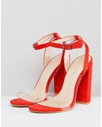 Public Desire Natasa Orange Block Heeled Sandals