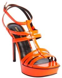 Saint Laurent Neon Orange Patent Leather Vitello Vernice Strappy Sandals