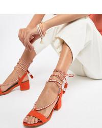 Qupid Tie Leg Mid Heeled Sandals