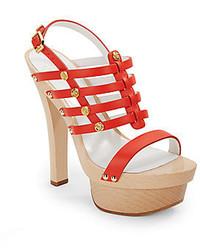 Versace Strappy Studded Leather Platform Sandals