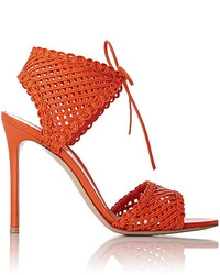 Gianvito Rossi Woven Leather Ankle Tie Sandals