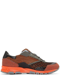 Orange Leather Low Top Sneakers