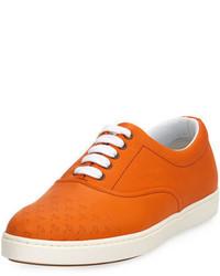Orange Leather Low Top Sneakers