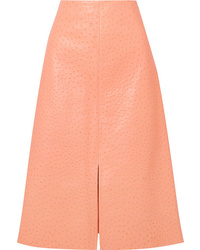 Marni Ostrich Effect Leather Midi Skirt