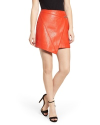BLANKNYC Asymmetrical Latch Detail Vegan Leather Miniskirt