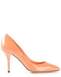 Orange Leather Pumps