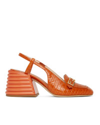 Fendi Orange Croc Slingback Heels