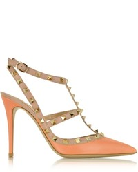 Valentino Rockstud Melon Sorbet Powder Leather Ankle Strap Pump