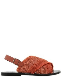 Sanchita 10mm Fringed Raffia Leather Sandals