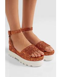 Miu Miu Glittered Leather Platform Sandals Orange