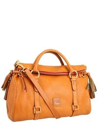 Orange Leather Satchel Bag