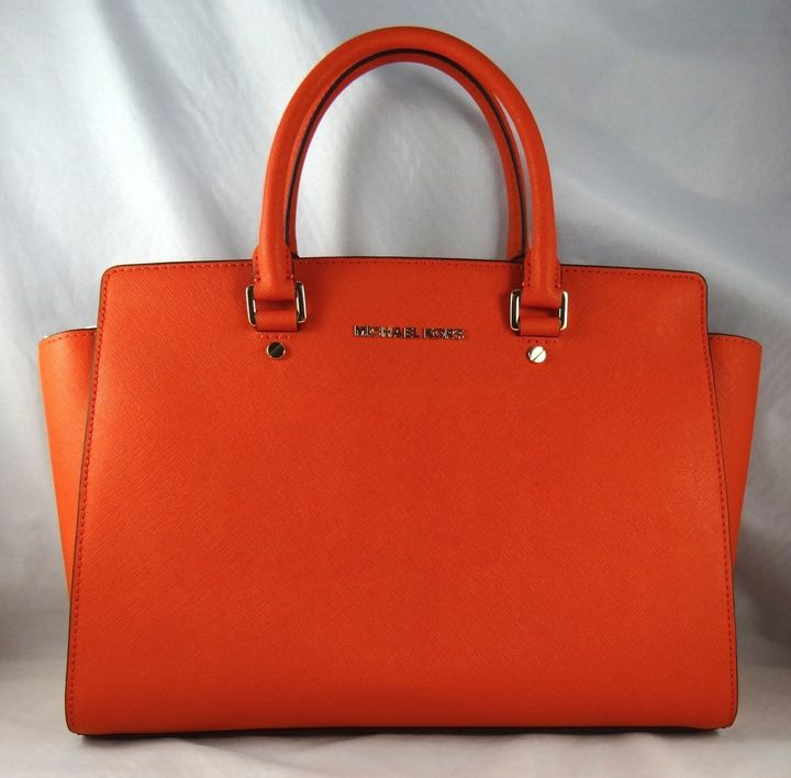 116930d4c4c590 ... wholesale michael michael kors michl michl kors selma large orange  leather satchel bag 9a9af 02e99 ...