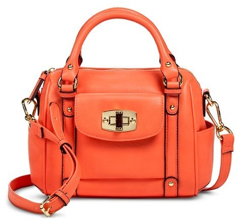 34 Merona Mini Satchel Faux Leather Handbag With Removable Crossbody Strap
