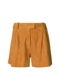 Orange Leather Shorts