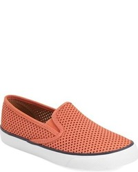 Orange Leather Slip-on Sneakers