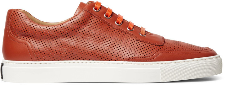 ... Orange Leather Sneakers Harry's of London Harrys Of London Mr Jones 2  Perforated Leather Sneakers ...