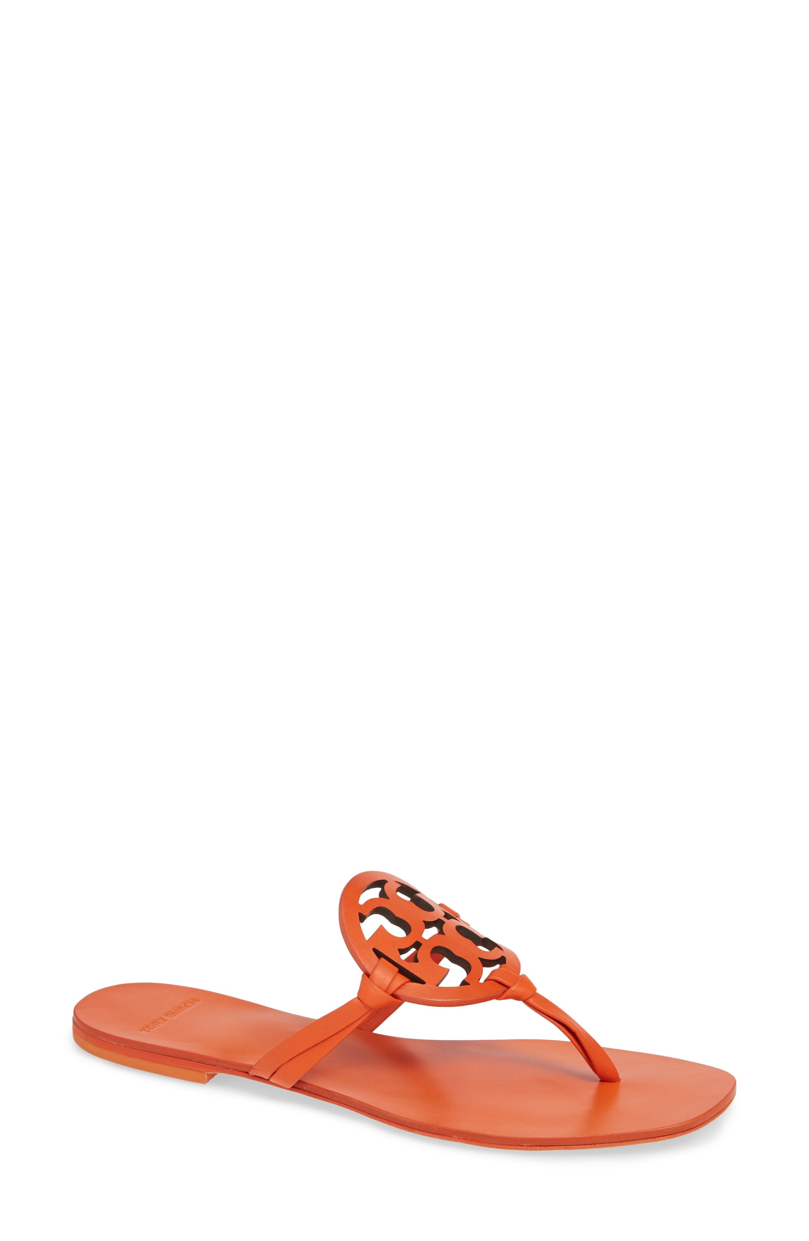 9c08885fbb0 Miller Square Toe Thong Sandal. Orange Leather Thong Sandals by Tory Burch