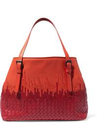 Bottega Veneta Shopper Two Tone Intrecciato Leather Tote Bright Orange