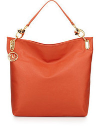 Love Moschino Saffiano Monkey Head Faux Leather Tote Orange
