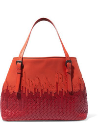 Bottega Veneta Shopper Two Tone Intrecciato Leather Tote Bright Orange