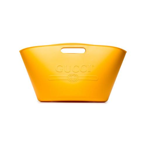 980 Gucci Yellow Logo Rubber Tote