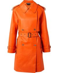 Orange Leather Trenchcoat