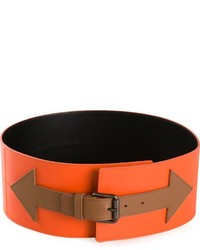Orange Leather Waist Belt