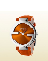 Gucci Interlocking Large Stainless Steel And Leather Watch