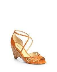 Alexandre Birman Leather Cork Wedge Sandals Orange