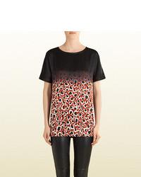 Gucci Mini Leopard Print Satin T Shirt