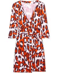 Diane von Furstenberg Julian Leopard Print Silk Jersey Mini Wrap Dress