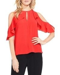 Vince Camuto Petite Flutter Sleeve Cold Shoulder Blouse