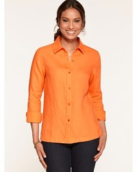 Orange Lightweight Button Down Blouse