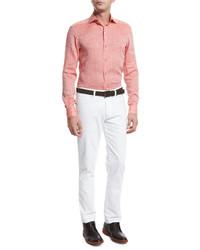 Orange Linen Long Sleeve Shirt