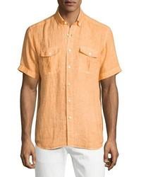 Orange Linen Short Sleeve Shirt