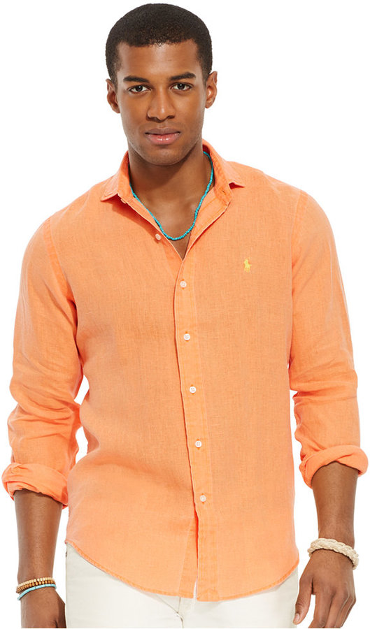e3ab0580 ... Orange Long Sleeve Shirts Polo Ralph Lauren Linen Sport Shirt ...