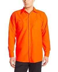 Red Kap Enhanced Visibility Work Shirt Fluorescent Orange Long Sleeve Long Medium